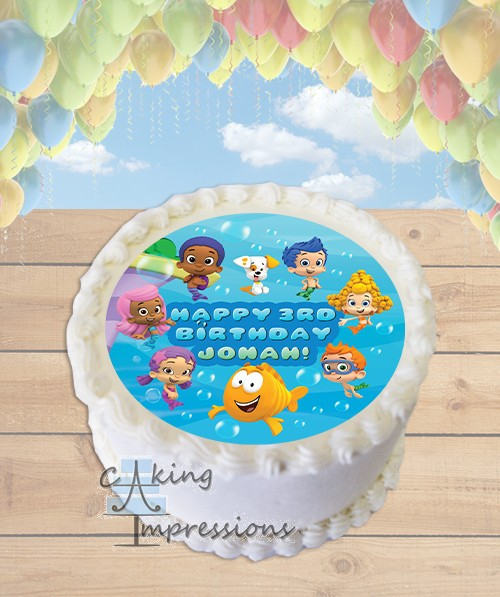 Bubble Guppies Edible Image Round Cake Topper