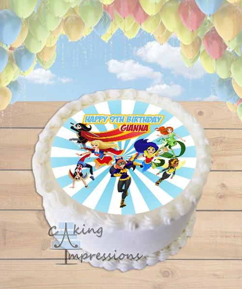 DC Superhero Girls Edible Frosting Image Cake Topper [ROUND]