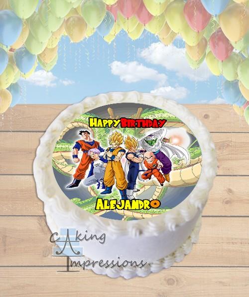 Dragon Ball Z Edible Image Round Cake Topper