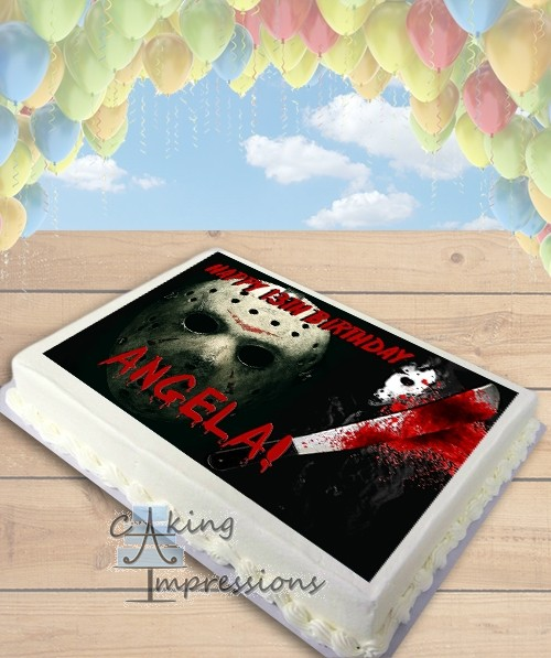 Friday the 13th Jason Horror Edible Frosting Image Cake Topper [SHEET]