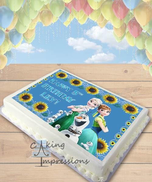 Frozen Fever Edible Frosting Image Cake Topper Sunflowers [SHEET]