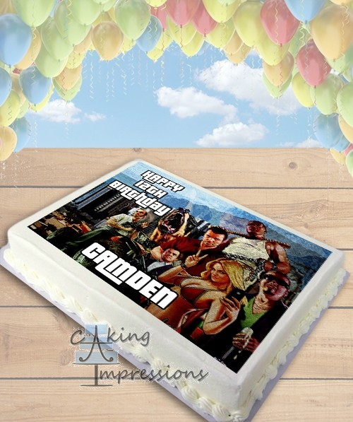 Grand Theft Auto V Edible Frosting Image Cake Topper [SHEET]