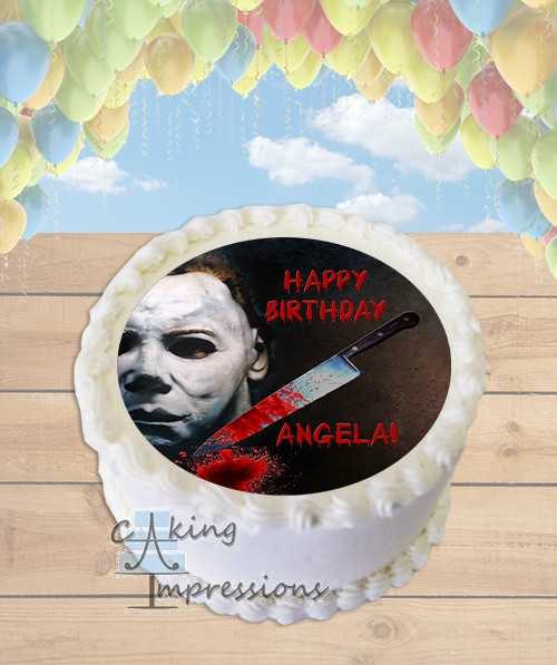 Edible Cake Images Michaels : Halloween Michael Myers Horror Edible Image Round Cake Topper