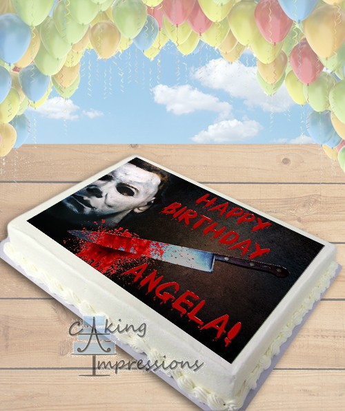 Edible Cake Images Michaels : Halloween Michael Myers Horror Edible Image Sheet Cake Topper