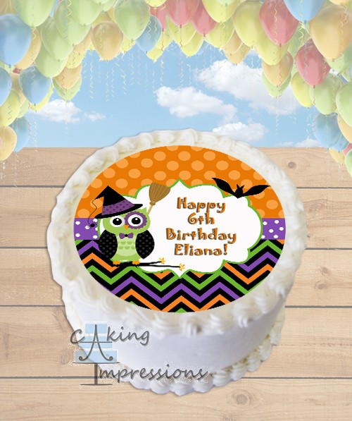 Halloween Owl Witch Edible Image Round Cake Topper