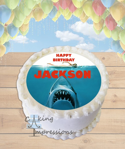 JAWS Shark Edible Frosting Image Cake Topper [ROUND]