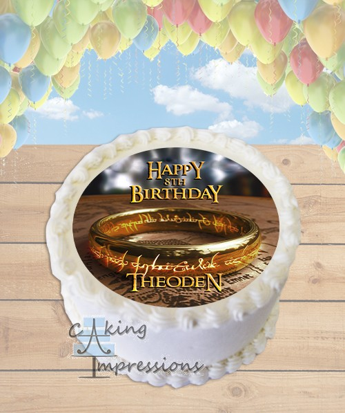 The Lord of the Rings One Ring Edible Frosting Image Cake Topper [ROUND]
