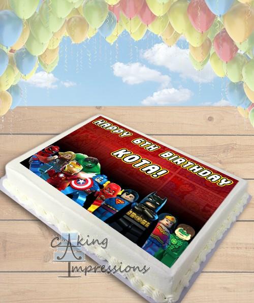 MARVEL vs DC LEGO Superheroes Edible Frosting Image Cake Topper [SHEET]