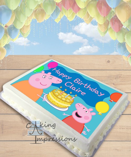 Edible Cake Images Peppa Pig : Peppa Pig Birthday Cake Edible Image Sheet Cake Topper