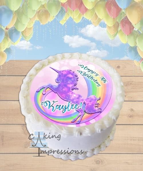 Unicorn Rainbow Sparkles Edible Frosting Image Cake Topper ROUND