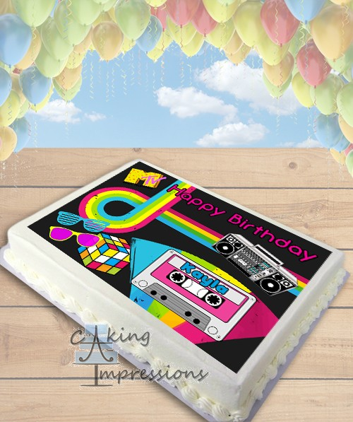 80s Party Themed Edible Frosting Image Cake Topper SHEET