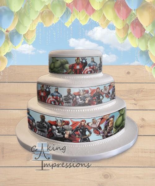 Avengers Assemble Edible Image Cake Wrap Topper