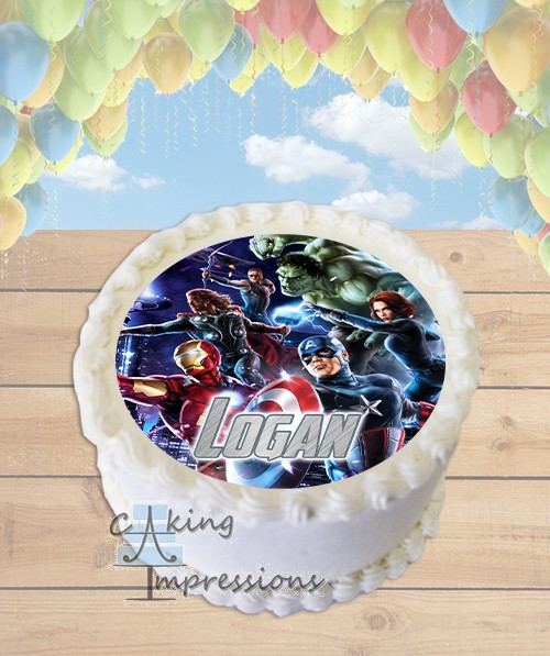 Avengers Movie Edible Frosting Image Cake Topper ROUND