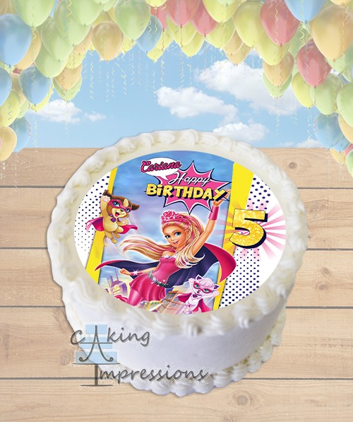 Barbie In Princess Power Edible Frosting Image Cake Topper ROUND