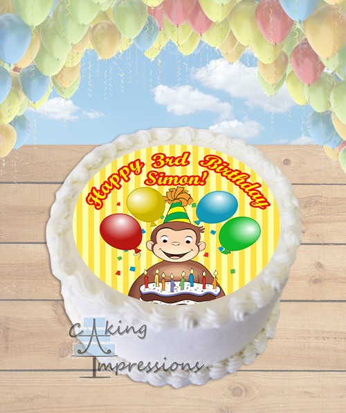 Curious George Edible Frosting Image Cake Topper ROUND