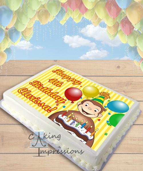 Curious George Edible Cake Image