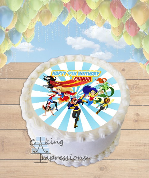 Round Edible Cake Topper Cake Ideas For Dc Superhero Girls