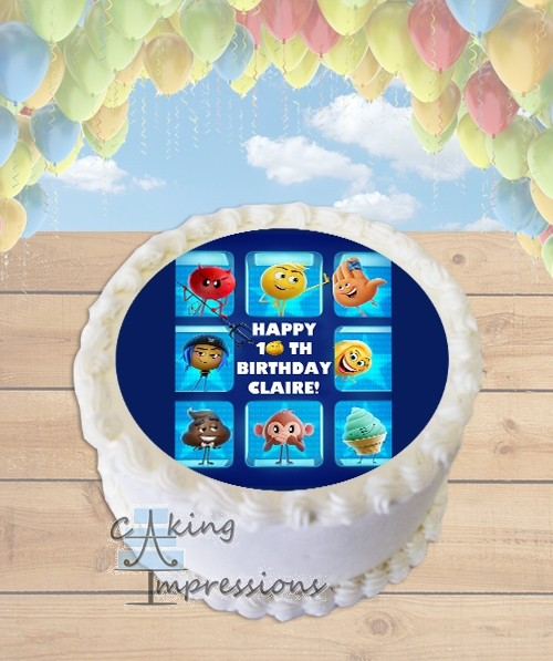 Emoji Movie Edible Frosting Image Cake Topper ROUND
