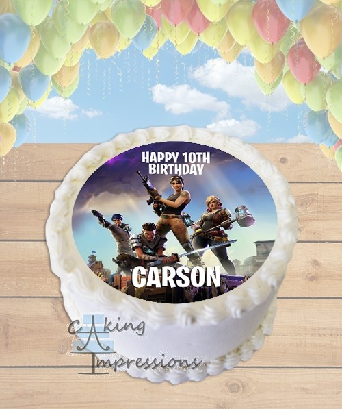 Fortnite Video Game Edible Image Round Cake Topper