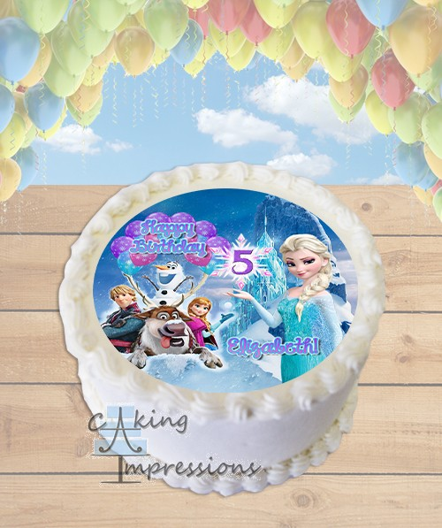 Frozen Elsa Ice Castle Edible Frosting Image Cake Topper ROUND