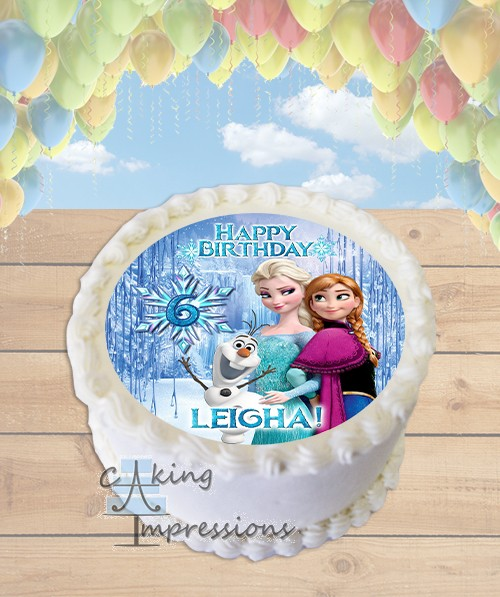 Frozen Elsa Anna And Olaf Edible Frosting Image Cake Topper ROUND