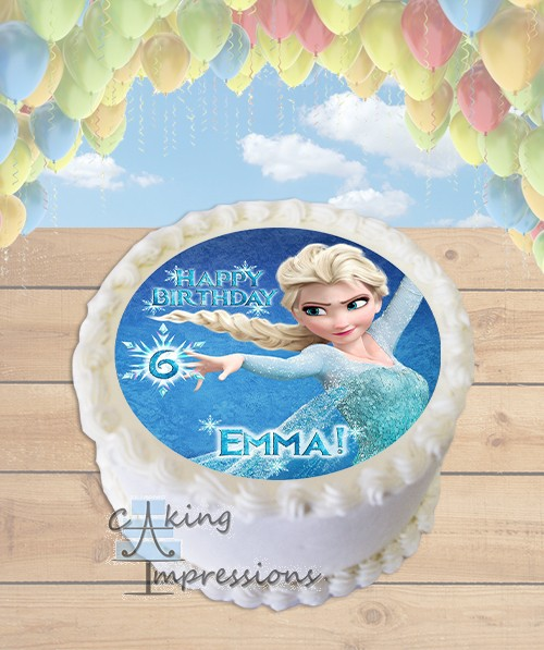 Frozen Elsa Edible Frosting Image Cake Topper ROUND