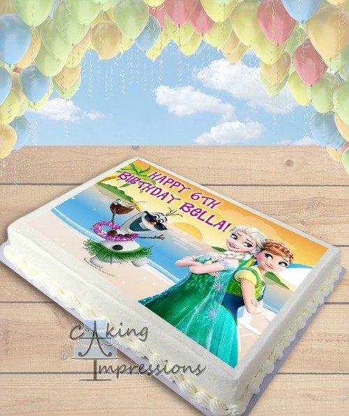 OIaf in Summer Beach Party with Elsa and Anna Edible Image Sheet