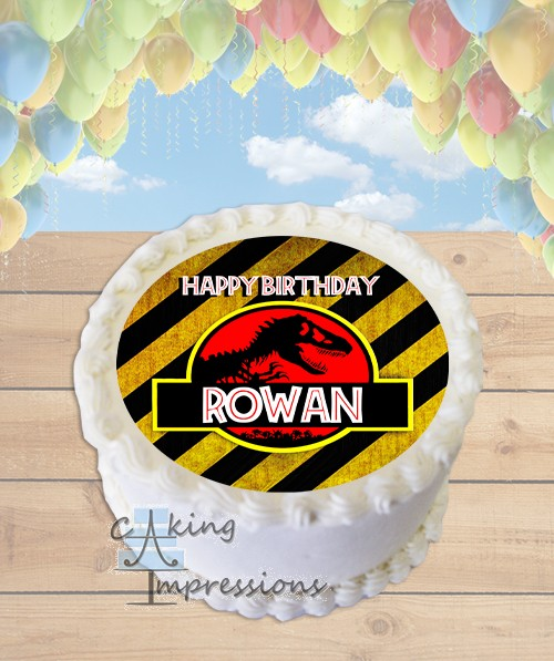 Jurassic Park Logo Caution Edible Frosting Image Cake Topper ROUND