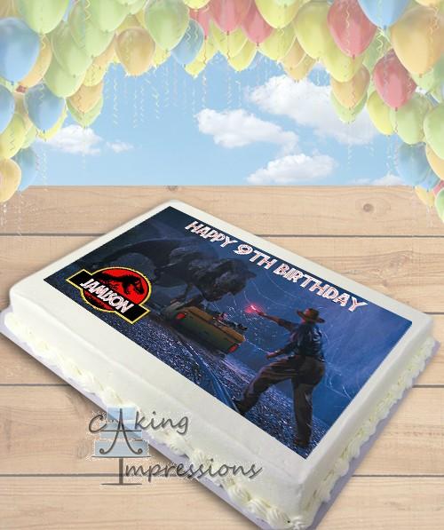 Jurassic Park TREX Flare Edible Frosting Image Cake Topper SHEET