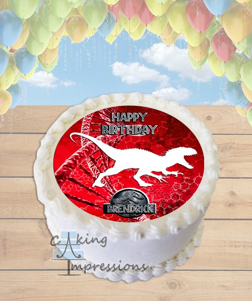 Jurassic World Indominus Rex Silhouette Edible Frosting Image Cake Topper ROUND