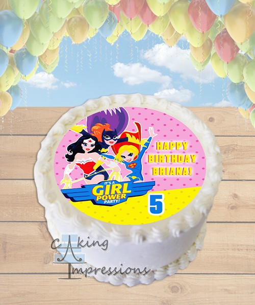 Justice League Girls Edible Frosting Image Cake Topper ROUND