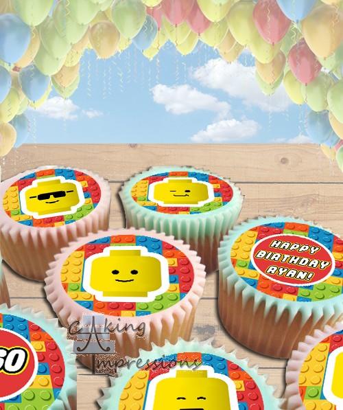 Lego Bricks Edible Frosting Image Cake Topper CUPCAKES