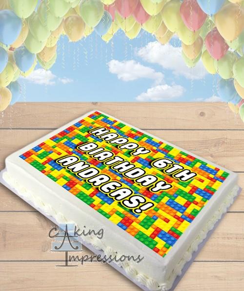 Lego Bricks Edible Image Sheet Cake Topper