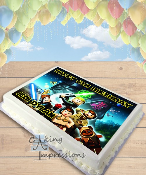 Star Wars Wedding Cake With Sunflowers: Lego Star Wars Edible Image Sheet Cake Topper