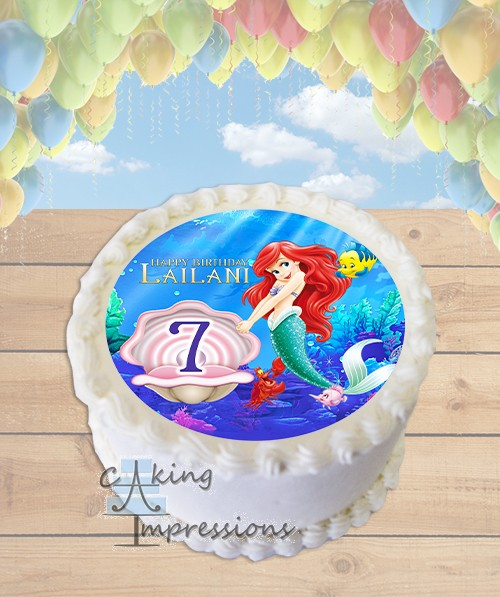 The Little Mermaid Edible Image Round Cake Topper