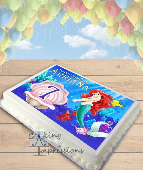 The Little Mermaid Edible Image Sheet Cake Topper