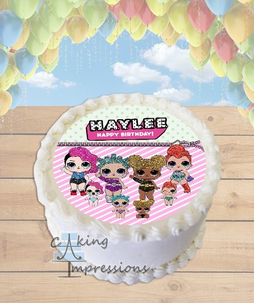 Lol Surprise Doll Glitter Edible Frosting Image Round Cake Topper