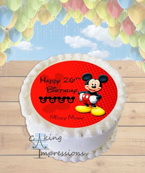 Mickey Mouse Edible Image Round Cake Topper