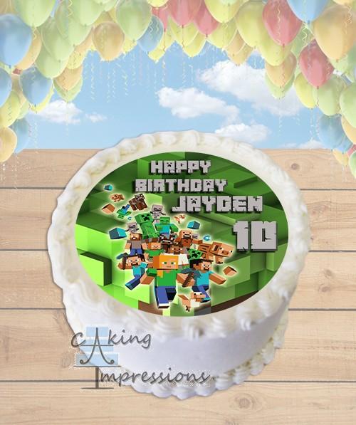 Minecraft Blocks Edible Image Round Cake Topper