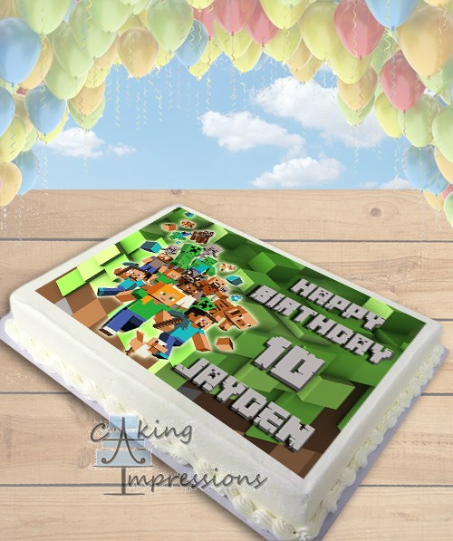 Minecraft Steve Edible Image Sheet Cake Topper