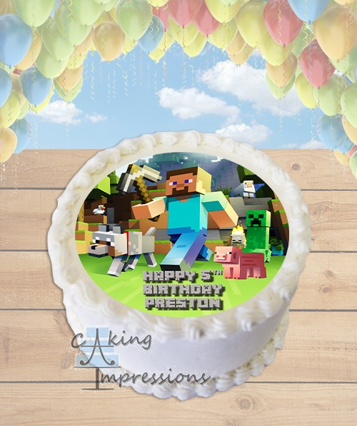 Minecraft Steve Edible Image Round Cake Topper