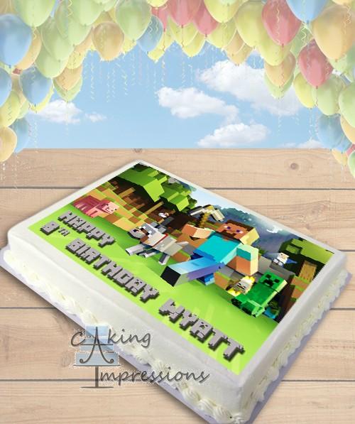 Minecraft Steve Edible Image Sheet Cake Topper