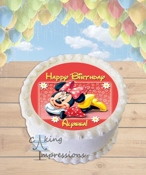 Minnie Mouse Edible Image Round Cake Topper