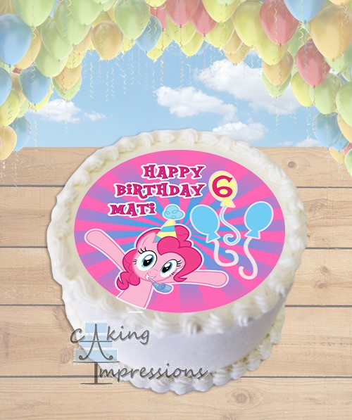 My Little Pony Pinkie Pie Edible Frosting Image Cake Topper ROUND