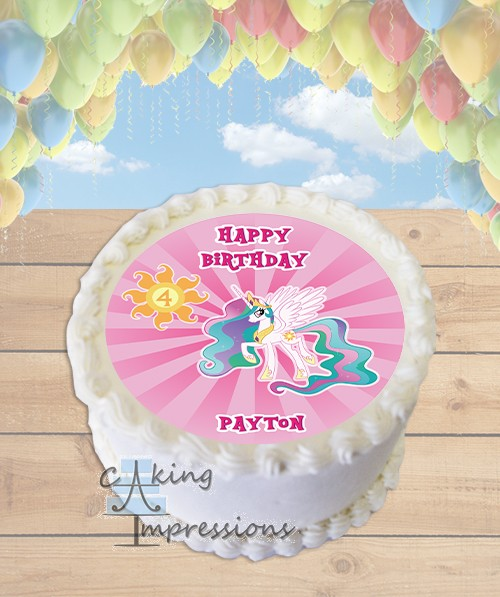 My Little Pony Princess Celestia Edible Frosting Image Cake Topper ROUND