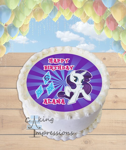 My Little Pony Rarity Edible Frosting Image Cake Topper ROUND