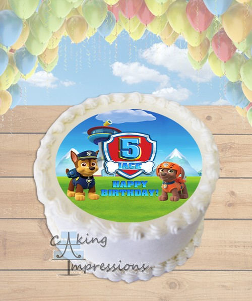 Paw Patrol Choose Dogs Edible Image Round Cake Topper
