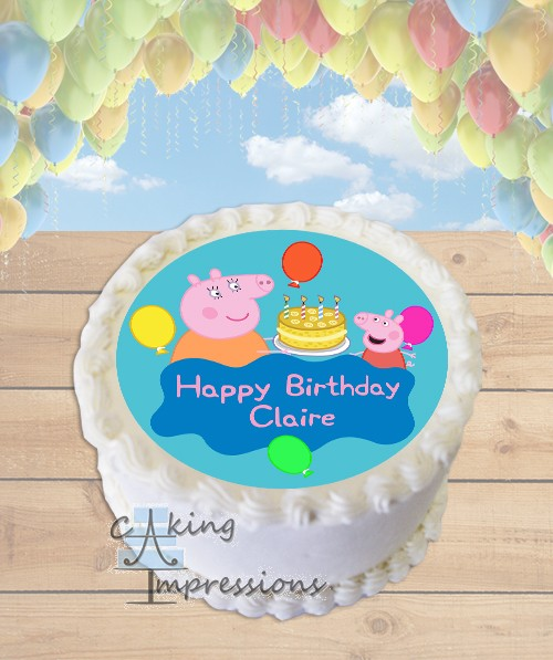 Peppa Pig Birthday Cake Edible Frosting Image Topper ROUND