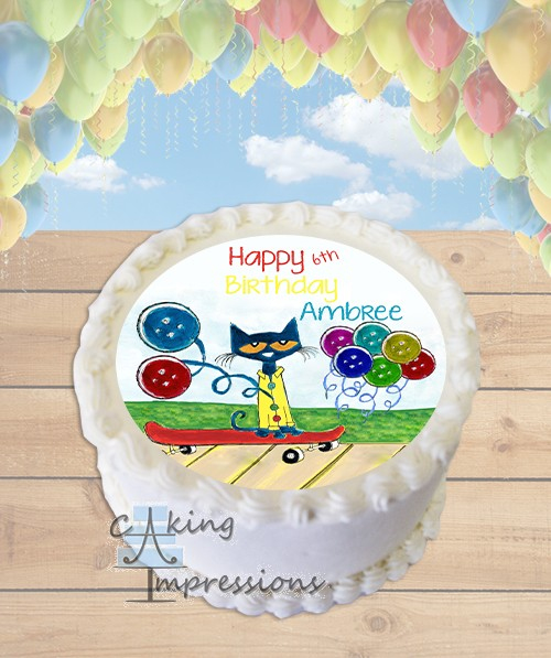 Pete The Cat Groovy Buttons Edible Frosting Image Cake Topper ROUND