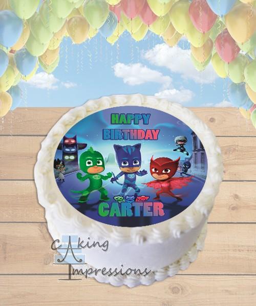 Pj Masks Edible Image Round Cake Topper